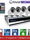 sinocam® nvr 4 canaux et 720p p2p kit de systeme de camera de securite IP video de soutien poussoir