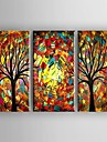 Oil Painting Modern Abstract  Knife Tree Set of 3 Hand Painted Canvas with Stretched Framed
