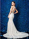 Lanting Bride® Trumpet / Mermaid Petite / Plus Sizes Wedding Dress See-Through Wedding Dresses Chapel Train Jewel Lace with