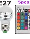Lampada Redonda LED Controle Remoto / Decorativa E26/E27 3W 300-500 LM K RGB 1 SMD 2835 5 pcs AC 85-265 V G45
