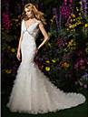 Lanting Bride® Ajustado/Acampanado Tallas pequenas Vestido de Boda Capilla Cuello en V Encaje / Tul con