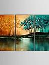 Peint a la main Paysage Trois Panneaux Toile Peinture a l\'huile Hang-peint For Decoration d\'interieur