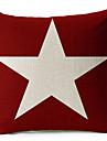 vit stjärna röd bomull / linne dekorativa örngott