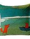 land stil drakflygning fox mönster bomull / linne dekorativa örngott