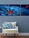 e-Home® sträckta ledda kanfastryck konst blå blommor blixteffekt ledde set om 3