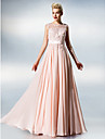Dress - Plus Size / Petite A-line Jewel Floor-length Chiffon / Lace