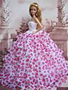 Princesse Robes Pour Poupee Barbie Beige / Fuchsia Robes Pour Fille de Doll Toy