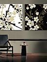 e-Home® sträckt ledda kanvastryck konst plommon blossom blixteffekt ledde set om 2