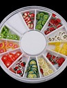 12 färger fruktdesign polymer nail art dekoration