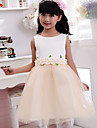 Ball Gown Tea-length Flower Girl Dress - Cotton Sleeveless Jewel with Appliques