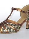 Chaussures de danse (Argent) - Personnalisable - Talons personnalises - Similicuir/Paillettes scintillantes - Danse latine/Salle de bal