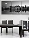 e-Home® sträckta canvas konststadsnattplats dekoration målning uppsättning av 3