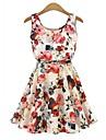 Damen Kleid - A-Linie Blumen UEbers Knie Polyester