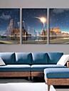e-Home® sträckt ledda kanvastryck konst ljuset blixteffekten lett blinkande optisk fiber utskrifts uppsättning av 3