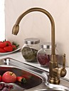 Antique Grand / Haut Arc Montage Pivotant with  Valve en ceramique Mitigeur un trou for  Laiton Antique , Robinet de Cuisine