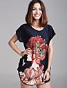 Tee-shirt Aux femmes,Imprime Decontracte / Quotidien simple Ete Manches Courtes Col Arrondi Bleu / Rouge / Noir Fin