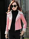 Women\'s Pink/Green/Orange Coat , Casual Long Sleeve Cotton/Wool Blends/Fleece