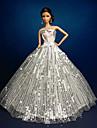 Bröllop Klänningar För Barbie Doll Silver Klänningar