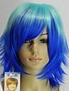 kvinnors fashionabla blå sjön blå mix rak kort cosplay peruk med sidan bang