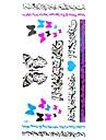 1pc autocollant multicolore etanche arabic-forme de coeur en argent numerotation papillon bleu fluorescent serie tatouage