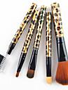 5pcs cheveux de nylon Leopard d\'or poignee de conception cosmetique de maquillage Brosse Set
