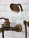 Antik Badkar och dusch Handdusch inkluderad with  Keramisk Ventil Enda handtag tre hål for  Antik mässing , Badkarskran