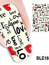 1pcs kärlek konstruktionsvattenstämpel nail art klistermärken ble1887