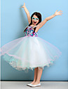 Lanting Bride Knee-length Tulle Junior Bridesmaid Dress Ball Gown Halter with Flower(s)