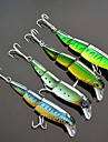 4 pcs Floating 3 Sections Minnow Fishing Lure 10cm/16g