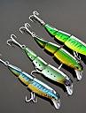 4 pieces flottantes trois sections vairon leurre de peche 10cm / 16g (couleur aleatoire)