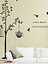 miljö avtagbar träd och fågelbur pvc väggklistermärke