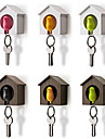 fågelbo sparrow hus nyckel kedja ring kedja plast visselpipa väggkrok hållare (slumpmässig färg) 7 * 5 * 8 cm