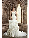 Trumpet / Mermaid Petite / Plus Sizes Wedding Dress Court Train Strapless Lace / Organza / Satin with