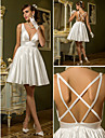 Lanting Bride® A-line Petite / Plus Sizes Wedding Dress - Chic & Modern / Reception Simply Sublime Short / Mini V-neck Stretch Satin with