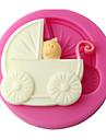 fyra c silikon cupcake mögel barnvagn fondant mögel, tårta dekoration, fondant dekorera verktyg levererar färgen rosa