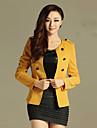 Women\'s Black/Orange/Yellow Blazer , Casual Long Sleeve