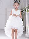 Flower Girl Dress Asymmetrical Organza Ball Gown Sleeveless Dress
