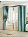 One Panel Blue Solid Linen  Cotton Blend Panel Curtain Drape