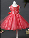 A-line Knee-length Flower Girl Dress - Satin / Tulle / Sequined Sleeveless Jewel with