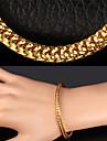 plaque lien cube chaine en or 18 carats trapu de U7 hommes bracelet pour hommes, femmes de haute qualite avec le timbre 18k