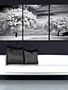 e-Home® sträckt duk konst träden dekoration målning uppsättning av 3