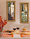 Fantezie / Mâncare/Băuturi Pânză Înrămată / Set Înrămat Wall Art,PVC Auriu Fără Rogojină cu Frame Wall Art