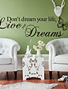 Wall Stickers Wall Decals, Style Live Your Dreams The Butterfly English Proverbs PVC Wall Stickers