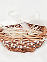 Ring Pillow Rattan Garden Theme With Ribbons/Faux Pearl/Faux Rings/Rattan
