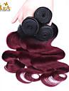 """3pcs / lot 10 """"-24"""" brasilianskt jungfru hårfärg 1b / 99 / j vågigt människohår väver"""