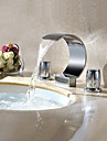 Contemporain Diffusion large Cascade / Pivotant with  Valve en laiton Deux poignees trois trous for  Chrome , Robinet lavabo