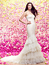 Mermaid / Trumpet Sweetheart Court Train Lace Tulle Wedding Dress with Appliques Tiered by LAN TING BRIDE®