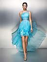 ts Couture® robe de cocktail taille plus / gaine petite / colonne une epaule asymetrique en mousseline de soie avec cristal detaillant