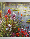 Oil Painting Lotus Flower Hand Painted Canvas with Stretched Framed