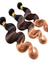 """3pcs lot 12 """"-24"""" ombre eurasien trois tons des faisceaux de cheveux d\'onde couleur t1b / 4/27 du corps"""